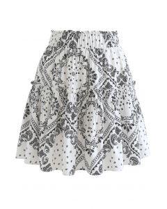 Paisley Frill Hem Mini Skirt in White