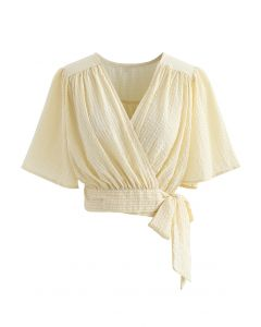 Stripe Jacquard Tie Waist Wrap Crop Top in Light Yellow