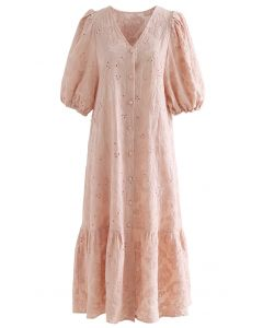 Button Down Bubble Sleeve Embroidered Dolly Dress in Coral