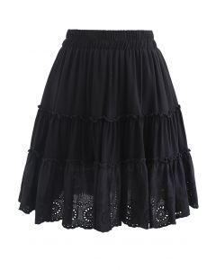Broderie Anglaise Frill Hem Mini Skirt in Black