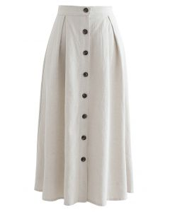 Button Front Cotton A-Line Midi Skirt in Linen