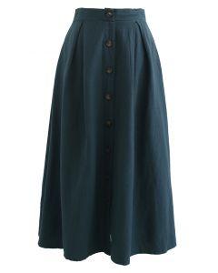 Button Front Cotton A-Line Midi Skirt in Dark Green