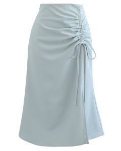 Ruched Drawstring Front Slit Midi Skirt in Dusty Blue