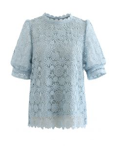 Daisy Land Full Crochet Top in Blue