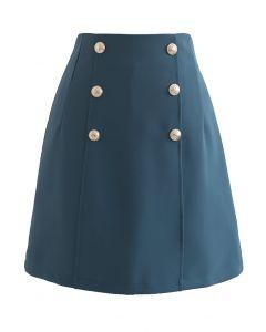 Golden Button Decorated Mini Bud Skirt in Indigo