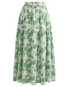 Floral Print Cotton Midi Skirt in Green
