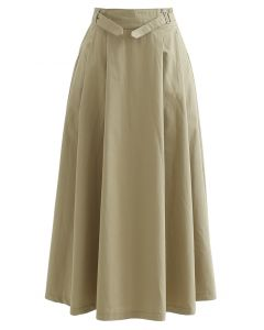 Belted Waist Pleated Cotton Midi Skirt in Tan