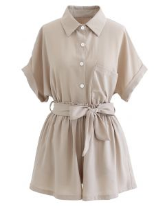 Button Down Shirt and Bowknot Shorts Set in Taupe