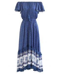 Boho Floret Printed Flutter Sleeves Maxi Dress in Blue