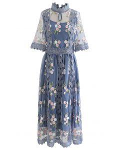 Garden Glamour Embroidered Crochet Trim Mesh Dress