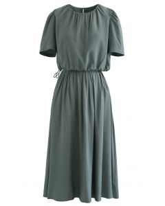 Drawstring Waist Cropped Top and Skirt Set in Teal