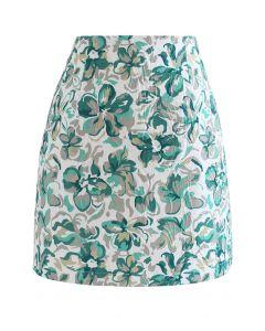 Embossed Floral Mini Bud Skirt in Green