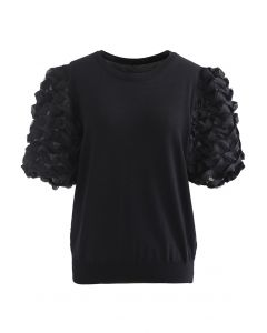3D Tiered Bubble Sleeve Knit Top in Black