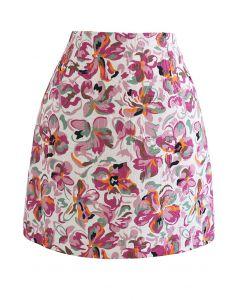 Embossed Floral Mini Bud Skirt in Hot Pink