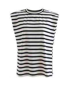 Stripe Pad Shoulder Sleeveless Top in White