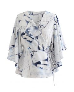 Butterfly Flare Sleeve Printed Wrap Top in Blue