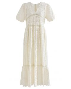 Scallop V-Neck Floral Eyelet Embroidery Maxi Dress in Cream