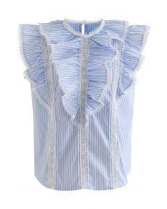 Layered Ruffle Crochet Trim Sleeveless Top in Stripe