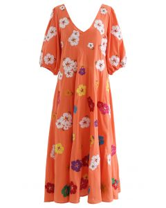 Plunging V-Neck Petal Embroidered Dolly Dress in Coral