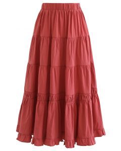 Solid Color Frilling Cotton Midi Skirt in Red