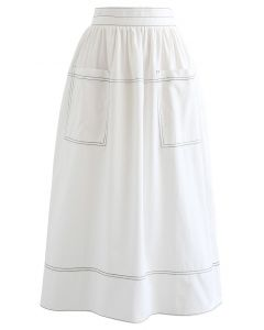 Contrast Line Patched Pocket Midi Skirt in White
