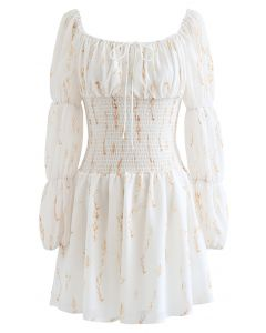 Square Neck Printed Shirred Mini Dress