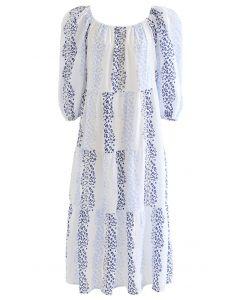 Blue Flowery Eyelet Square Neck Midi Dress