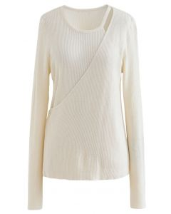 Button Wrapped Knit Top in Cream