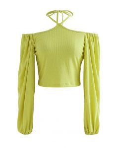 Tie Neck Puff Sleeve Crop Top in Lime