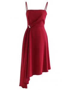 Pearl Trim Ruched Draped Asymmetric Cami Dress in Red