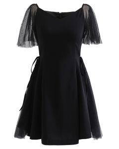 Sequined Mesh Sweetheart Neck Skater Dress in Black