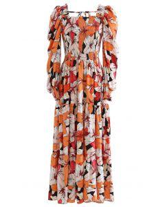 Lily Print Bubble Sleeve Maxi Dress in Orange
