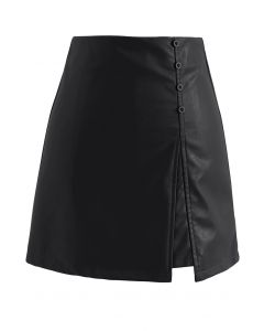 Polished Button Trim Faux Leather Bud Skirt in Black