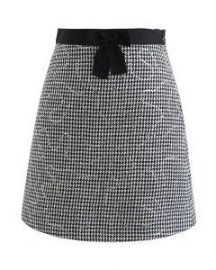 Sequin Trim Houndstooth Mini Bud Skirt