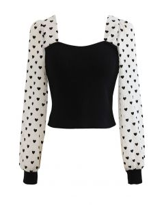 Full of Love Sheer Sleeves Fitted Crop Knit Top