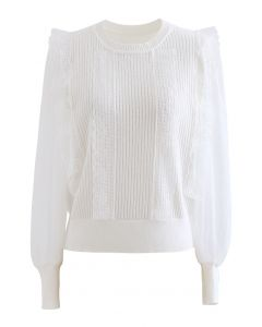 Spliced Mesh Sleeve Knit Top in White