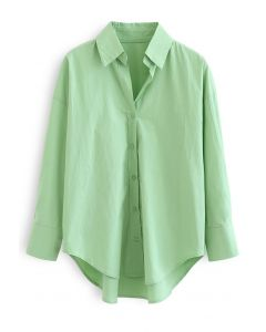 Oversized Button Down Hi-Lo Shirt in Green