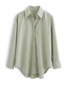 Oversized Button Down Hi-Lo Shirt in Moss Green