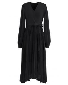 Knit Spliced Self-Tie Pleated Wrap Midi Dress in Black