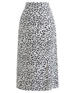 Front Slit Animal Print Midi Skirt in White