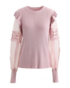Lace-Adorned Mesh Sleeve Knit Top in Pink