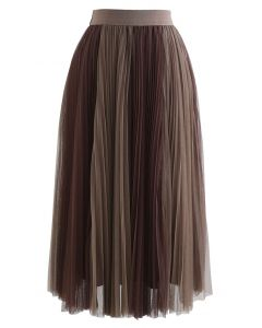 Brown Double Layered Pleated Tulle Mesh Skirt