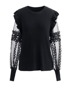 Lace-Adorned Mesh Sleeve Knit Top in Black