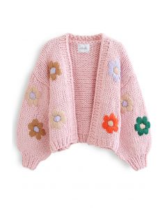 Stitch Flowers Hand-Knit Chunky Cardigan in Pink