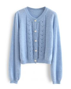 Hollow Out Fuzzy Knit Cardigan in Blue