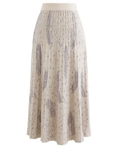 Falling Feather Pleated Knit Skirt in Ivory