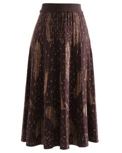 Falling Feather Pleated Knit Skirt in Caramel