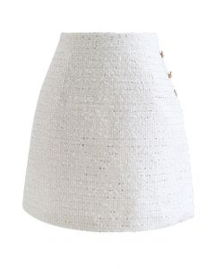 Button Trim Sequined Tweed Mini Skirt in White