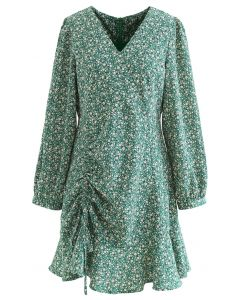 Drawstring Front Daisy Print Flare Dress in Green
