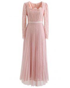 Graceful Lacy Spliced Mesh Maxi Dress